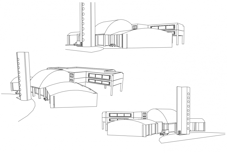 Isometric elevation and all sided elevation drawing details of airport building dwg file