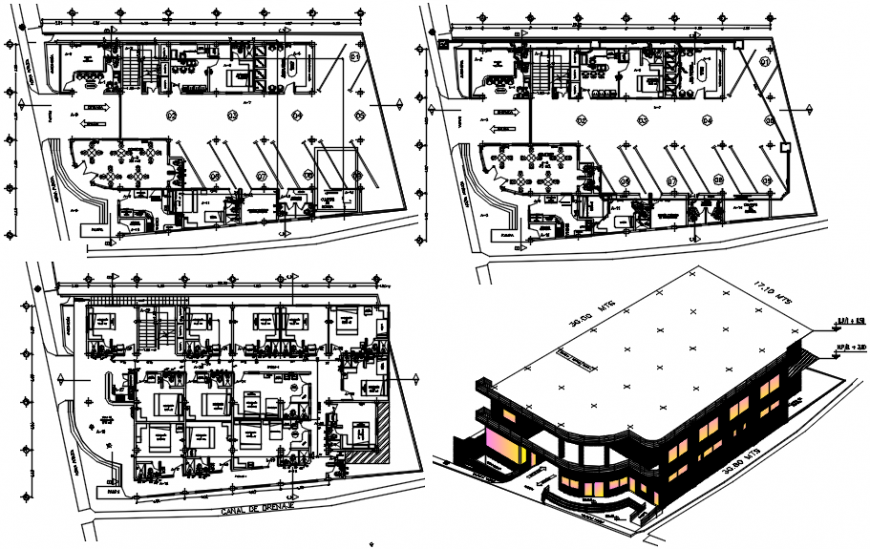 Isometric elevation and floor plan distribution drawing details of tourist hotel dwg file