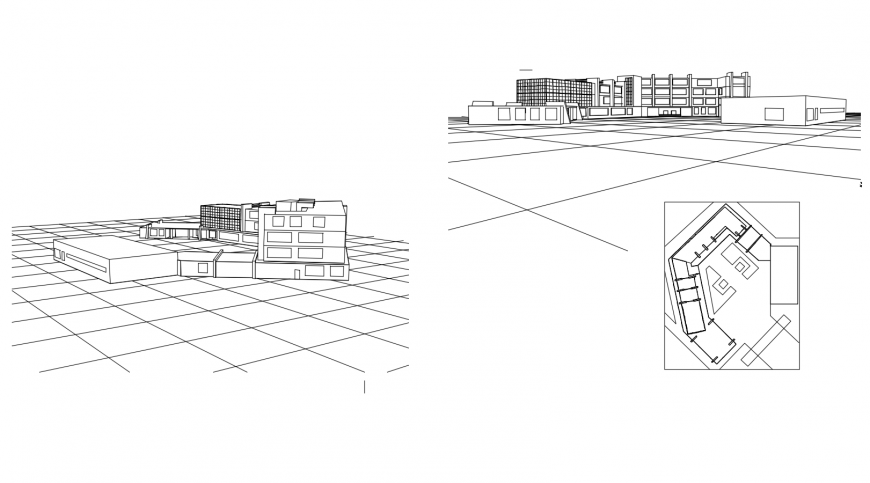 Isometric elevation drawing details of multi-level college building dwg file