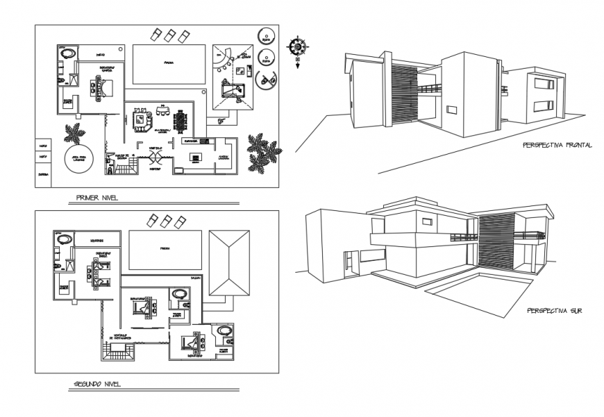Isometric elevation view and floor plan details of two story modern bungalow dwg file