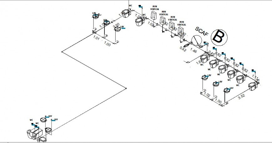 Isometric plan and sanitary installation and plumbing structure drawing details dwg file