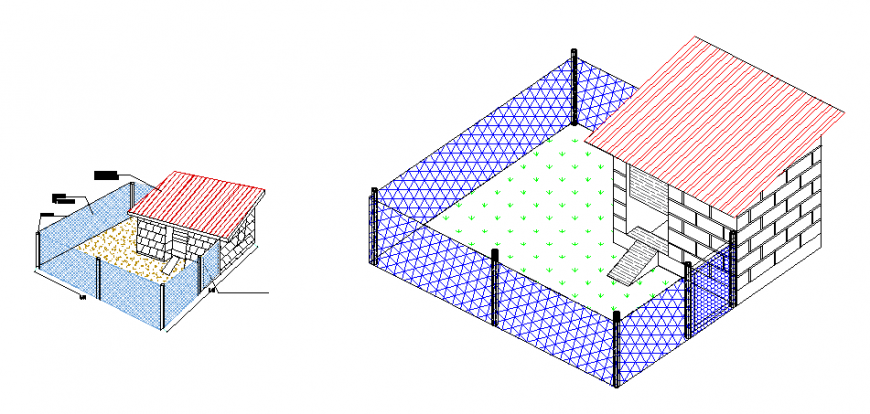 Isometric view of  bird house design drawing