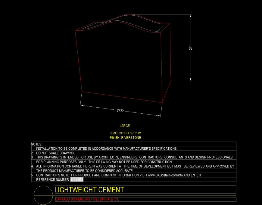 Isometric view of Cantado box end block in dwg file.