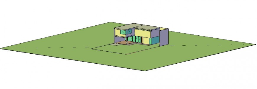 Isometric view of house in autocad software