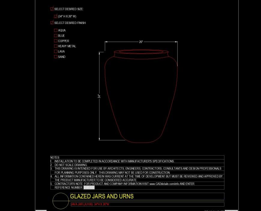 Java jar detail drawing in dwg file.