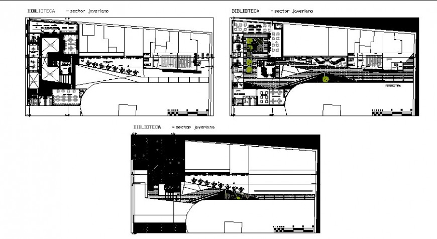 Javeriano library complete proposal ground and first floor plan details dwg file