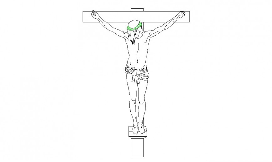 Jesus with cross sculpture drawing in AutoCAD file.