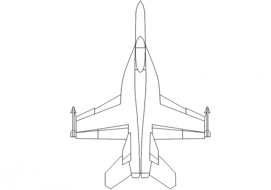 Jet plane front 2d model design  model dwg file