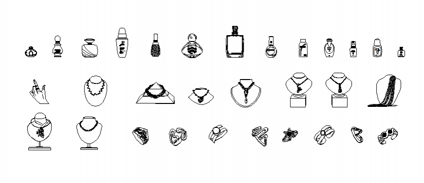 jewelry and cosmetic layout dwg file
