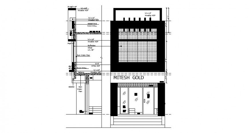 Jewelry shop elevation and constructive section cad drawing details dwg file
