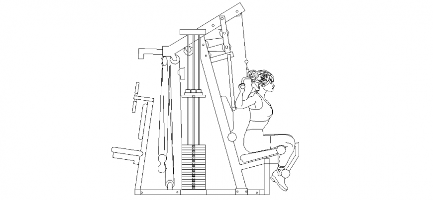 Jim stretch equipment with ladies in the position of an exercise dwg file