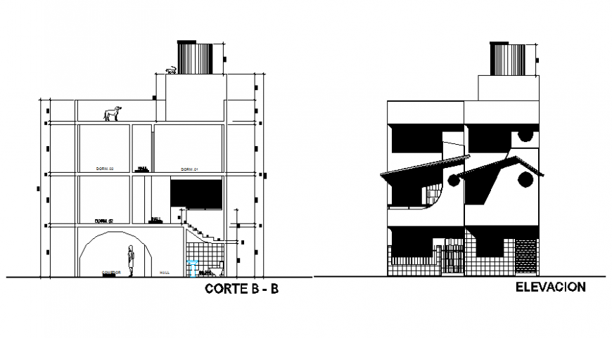 Joseph residential house facade elevation and section details dwg file