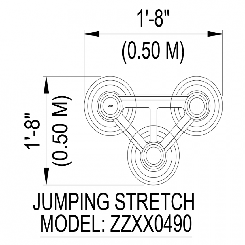 Jumping stretch with model design no. ZZXX 0490 dwg file