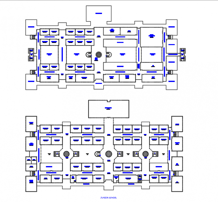 Junior school layout plan in dwg AutoCAD file.