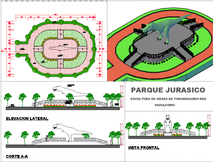 Jurassic park all drawing in dwg file.