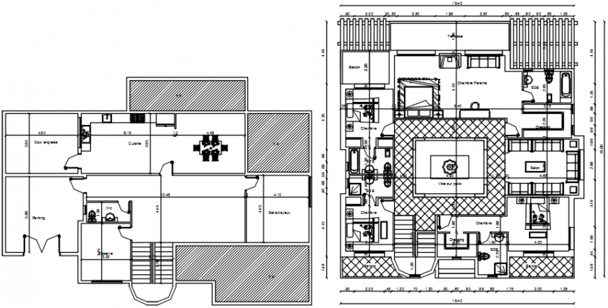 Kaboul residential villa floor plan distribution cad drawing details dwg file