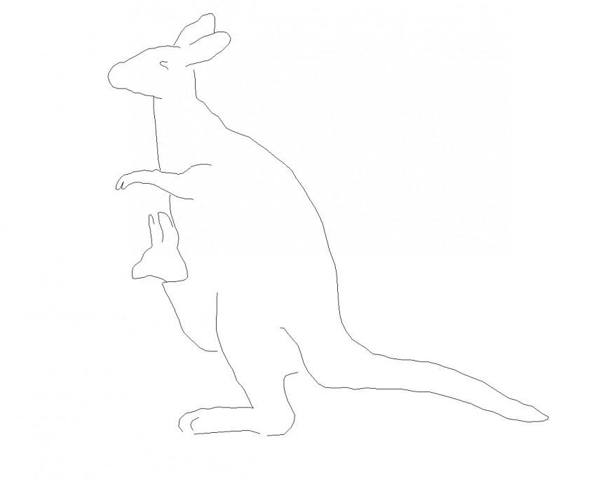Kangaroo elevation plan dwg file