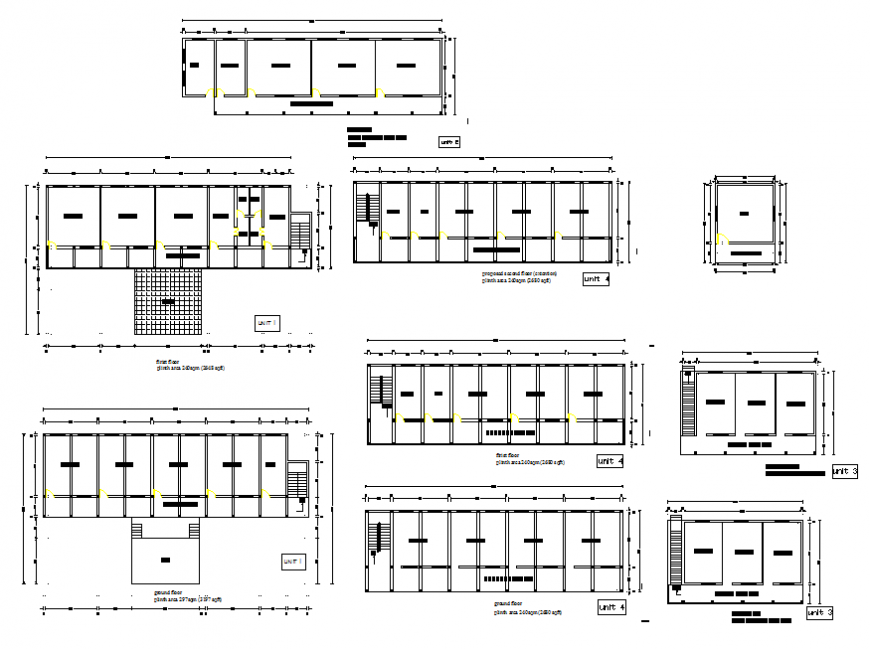 Kavanda school all sided sections and floor plan cad drawing details dwg file