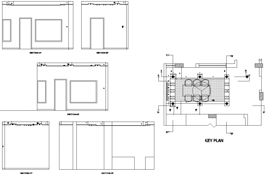 Key plan and section housing plan detail dwg file