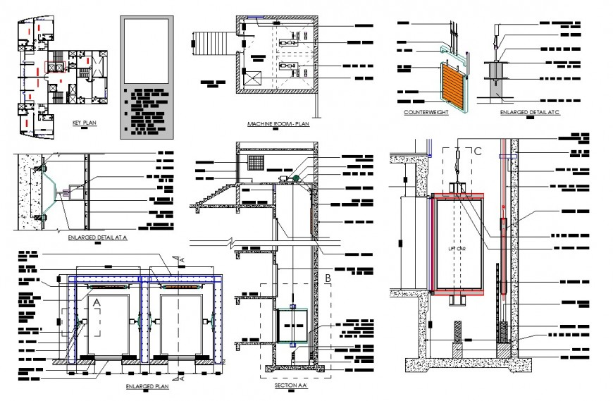 Key plan of restaurant building with other rooms detail 2d view autocad file