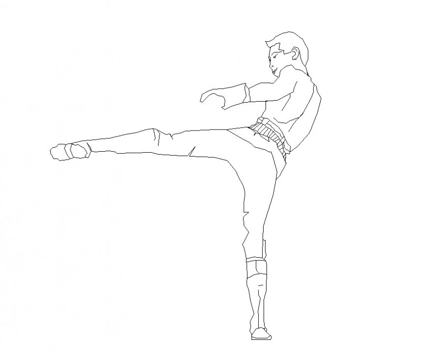 Kick boxing man detail 2d view CAD people block layout dwg file