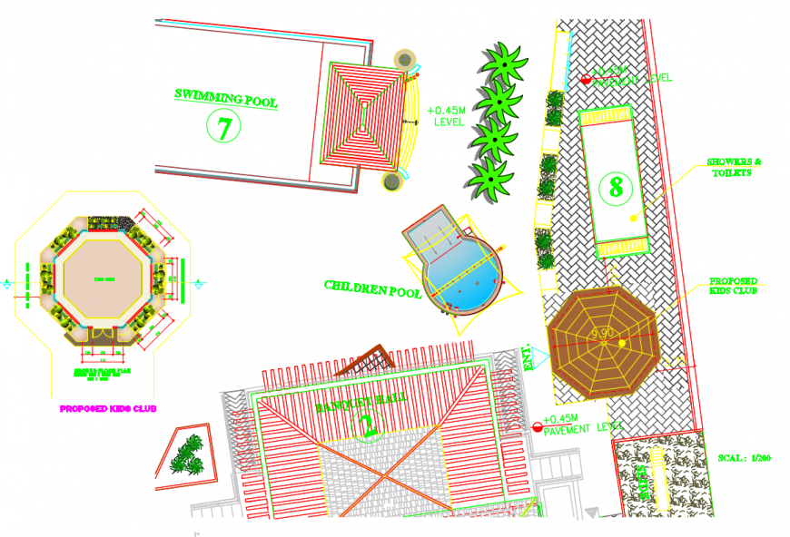 Kids club garden automation and landscaping structure details dwg file
