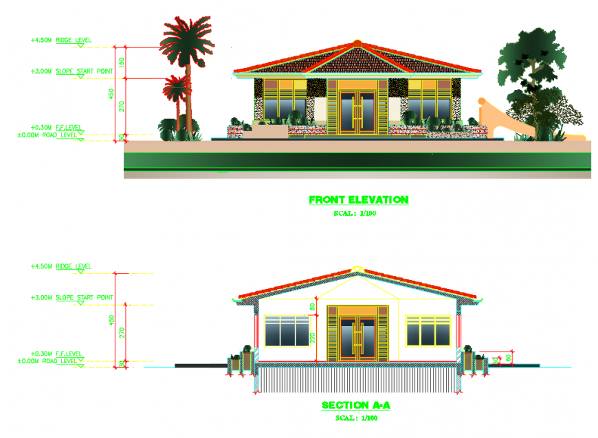 Kids club park facade elevation and section cad drawing details dwg file