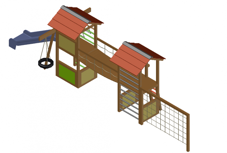 Kids play area , slide and other games detail dwg file