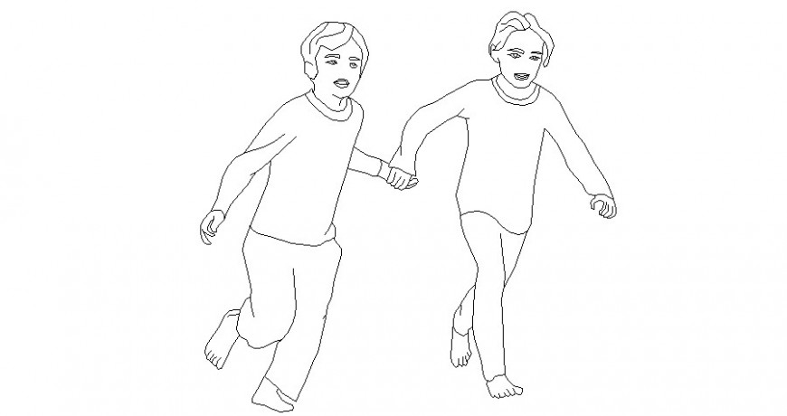 Kids running holding hand elevation 2d block cad drawing details dwg file