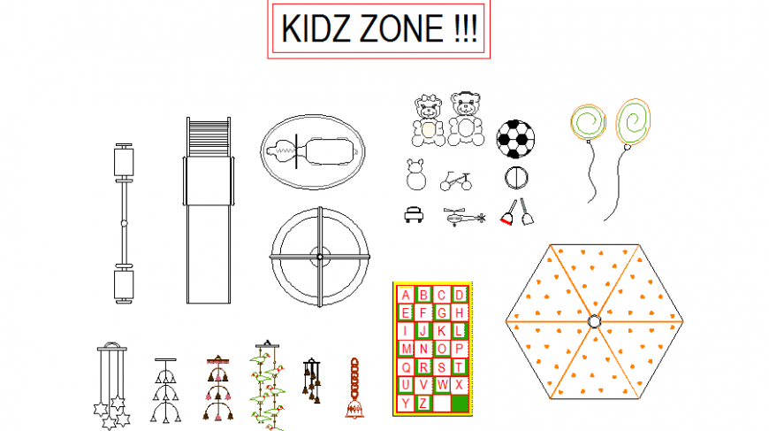 Kids zone kids playing equipment blocks cad drawing details dwg file