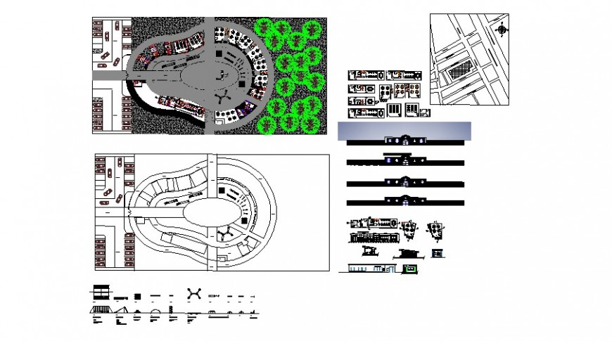Kinder garden gate elevation, section, landscaping structure and auto-cad drawing details dwg file