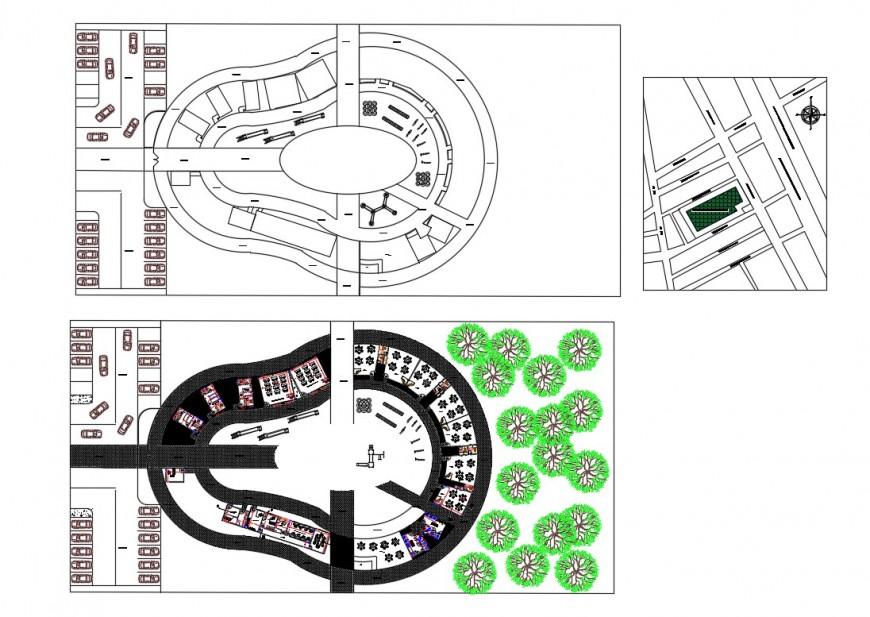 Kinder garden landscaping design and structure details dwg file