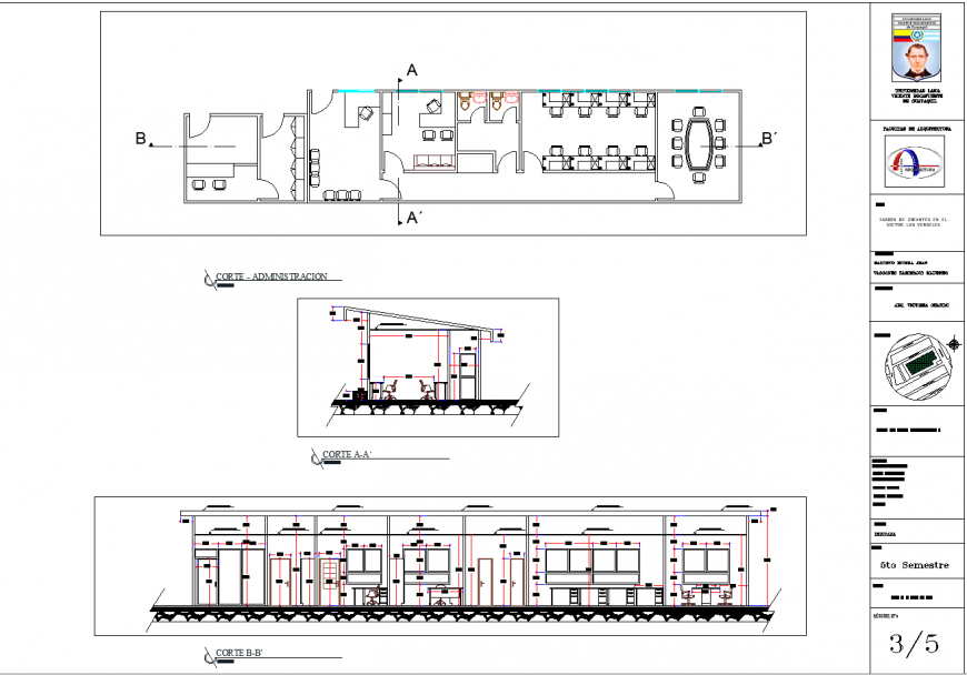 Kinder garden plan and section drawing in dwg file.