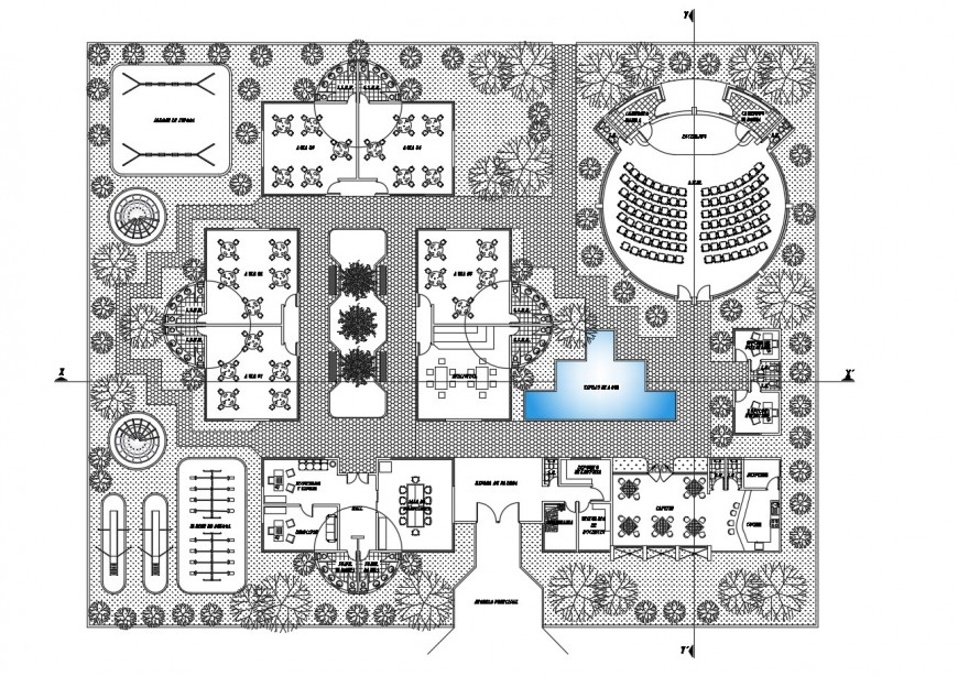 Kinder garden school layout plan and landscaping structure cad drawing details dwg file