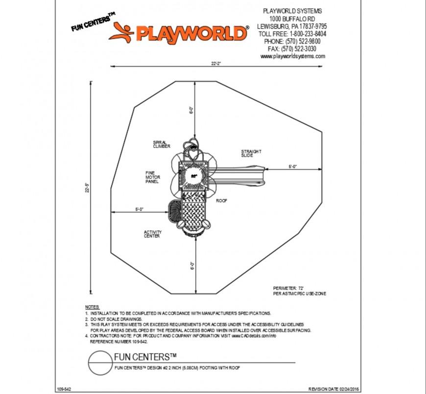 Kinder garden structure and landscaping details dwg file