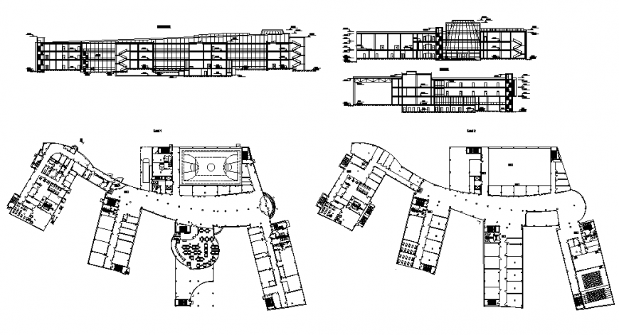Kinder garten hostel building all sided section and first and second floor plan details dwg file