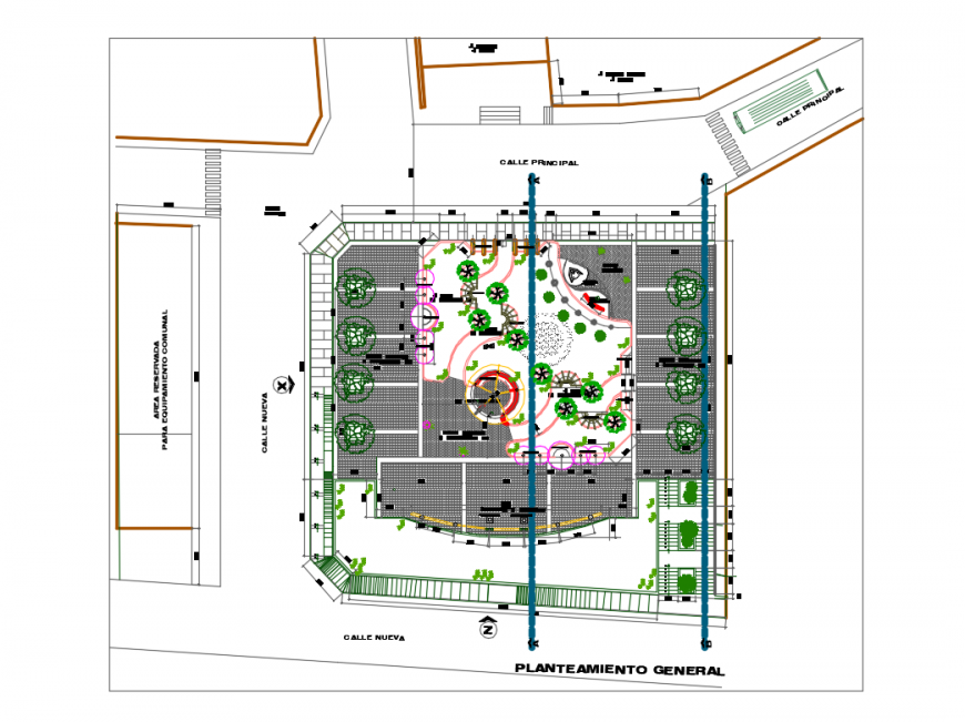 Kinder theme park landscaping and structure plan details dwg file