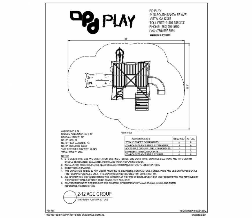 Kings view play structure play equipment details of garden dwg file