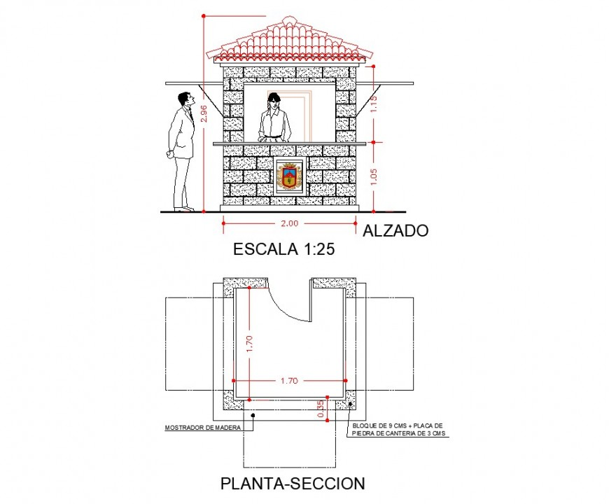 Kiosco of tourism information plan and section layout file
