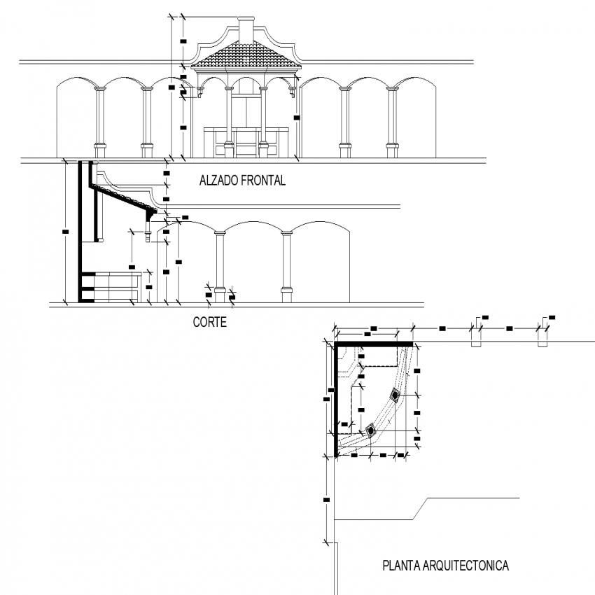 Kiosk 2 d plan, elevation and section layout file