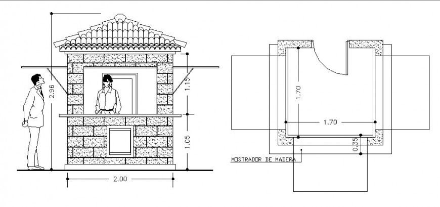 Kiosk of garden main elevation and plan cad drawing details dwg file
