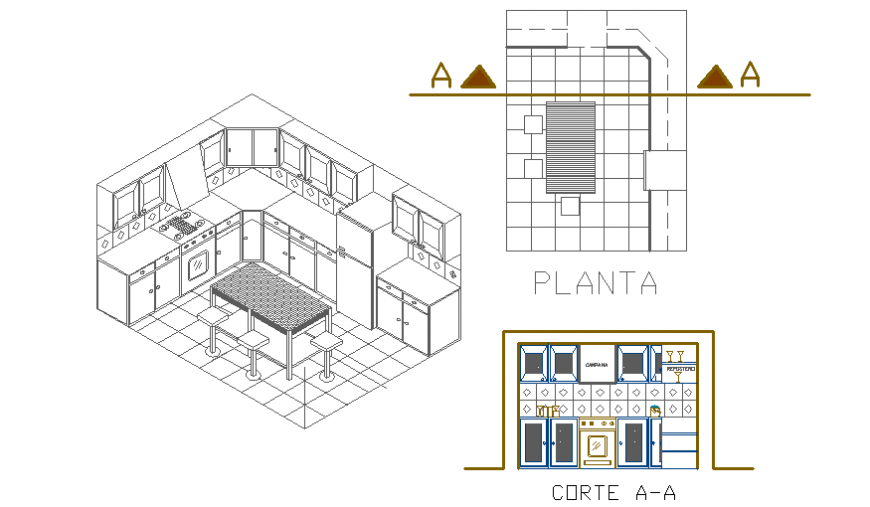 Kitchen 3d section, plan, furniture and interior details dwg file