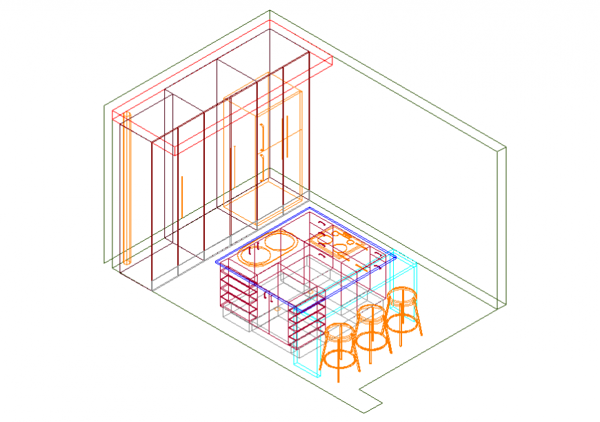 Kitchen 3d top view section and interior details dwg file