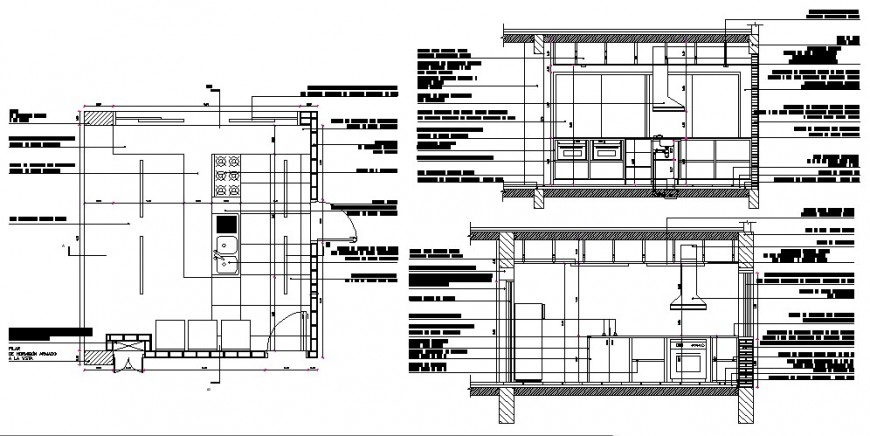 Kitchen all sided constructive section auto-cad drawing details dwg file