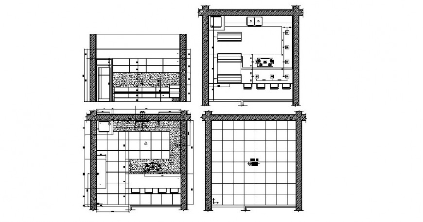 Kitchen all sided section, plan and furniture cad drawing details dwg file
