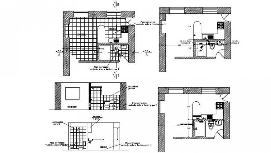 Kitchen and sanitary toilet area drawings dwg file