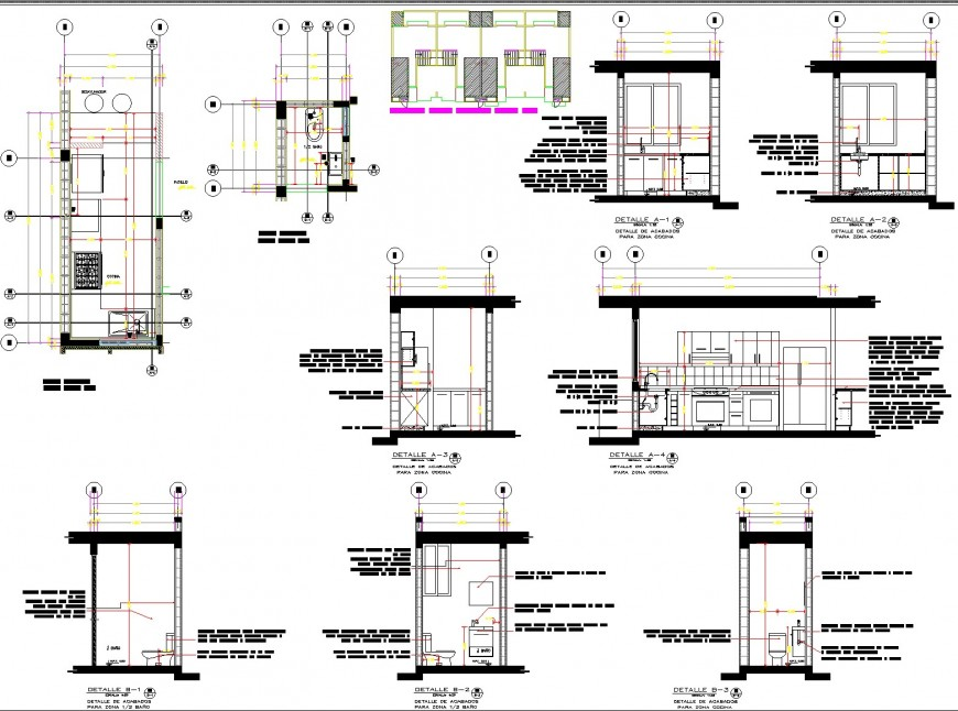 Kitchen and toilet section plan autocad file