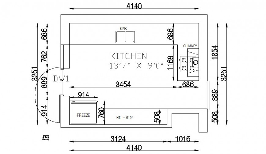 Kitchen area drawings detail 2d view autocad file