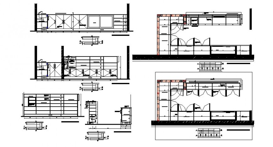 Kitchen area furniture blocks drawing 2d view autocad file