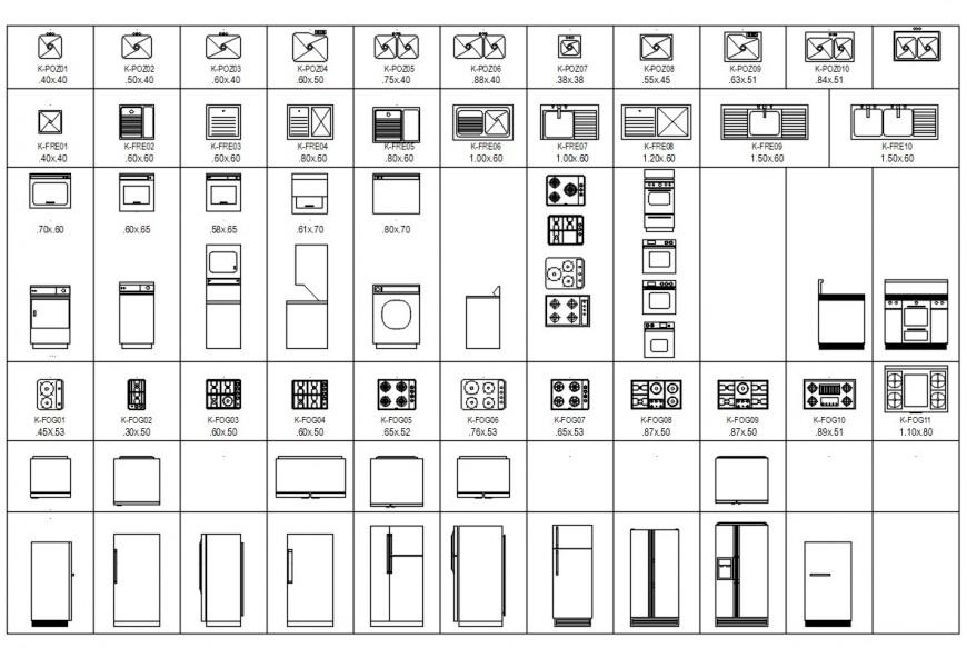 Kitchen blocks drawing detail cad file